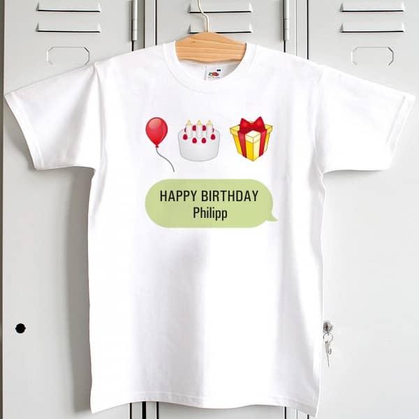 Shirt Happy Birthday Geburstag Emoji, Emoticon, Name, Geschenk, Kuchen