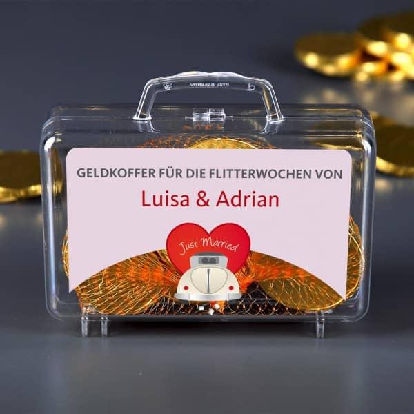 Kleiner Geldkoffer zur Hochzeit mit Namensaufdruck