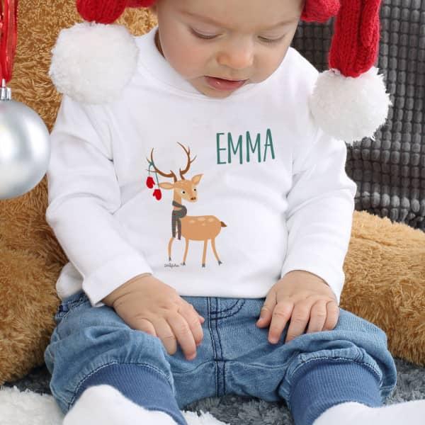 Bedruckter Babypullover mit Rentiermotiv