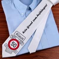 Geburtstags-Krawatte zum 50. mit eigenem Namen
