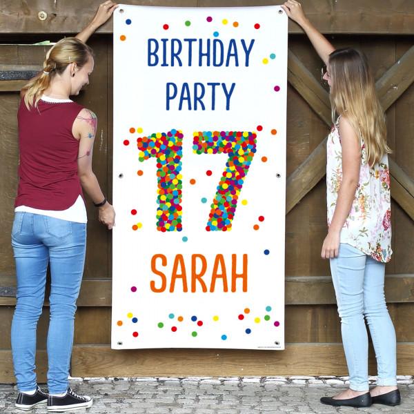 XL Banner zum 17. Geburtstag mit großer Konfett...