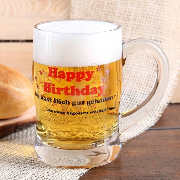 Bierseidel aus Glas Happy Birthday