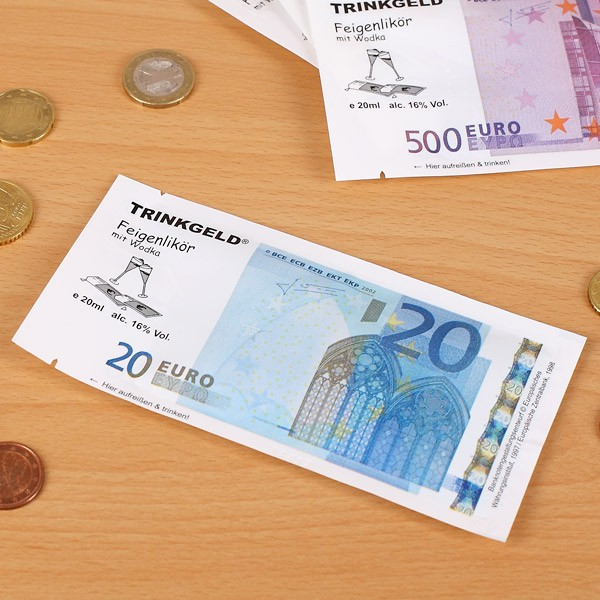 Trinkgeld 20 Euro Feigenlikör mit Wodka