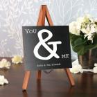Mini Staffelei zur Hochzeit bedruckt mit You & Me und Wunschtext