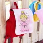 Kindergartenrucksack Ballerina mit dem Namen des Kindes