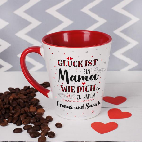 Tasse mit Innenseite und Henkel in Rot für Ihre Mama mit Text personalisiert