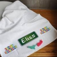 Endlich Schulkind! weißes Handtuch mit Name