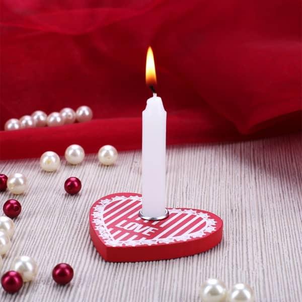 LOVE Kerzenhalter Herz mit Minikerze