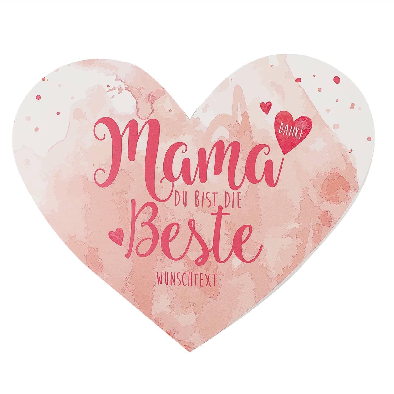 Herzkarte Mama Du bist die Beste mit Wunschtext