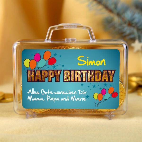 Kleiner Geldkoffer Happy Birthday mit Namen und Glückwunschtext