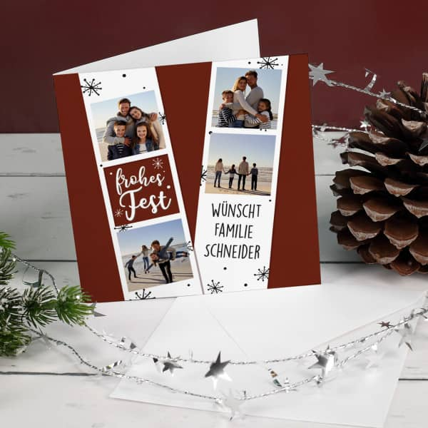 Nützlichgrusskarten - Frohes Fest Weihnachtskarte mit 4 Foto und Ihrem Wunschtext - Onlineshop Geschenke online.de