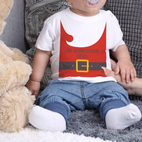 Weißes Weihnachtsshirt für Babys mit Ihrem Wunschtext