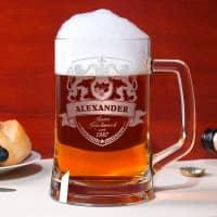 Bierkrug mit persönlichem Löwen Wappen