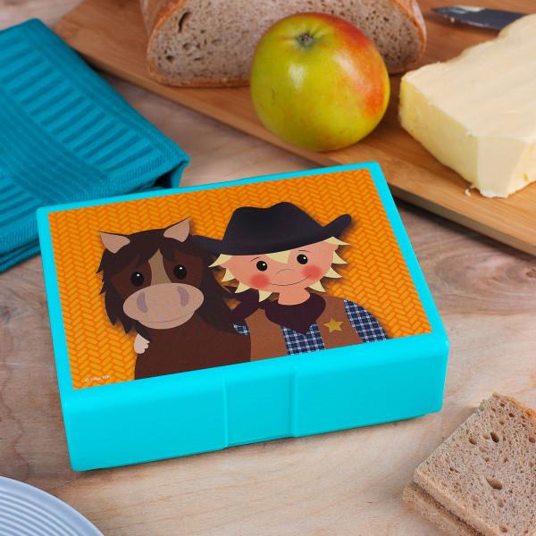 Brotdose mit kleinen Cowboy und Pferdchen bedruckt