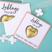 Karte Lieblings... - mit Lindt Schokoherz und Ihrem Wunschtext