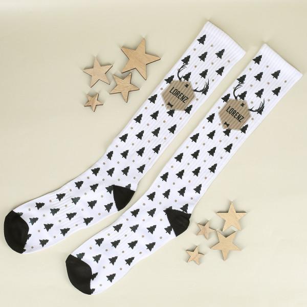 Weihnachtliche Socken mit Namensdruck für Männer