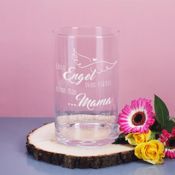 Glasvase mit Muttertagsmotiv und Wunschtext
