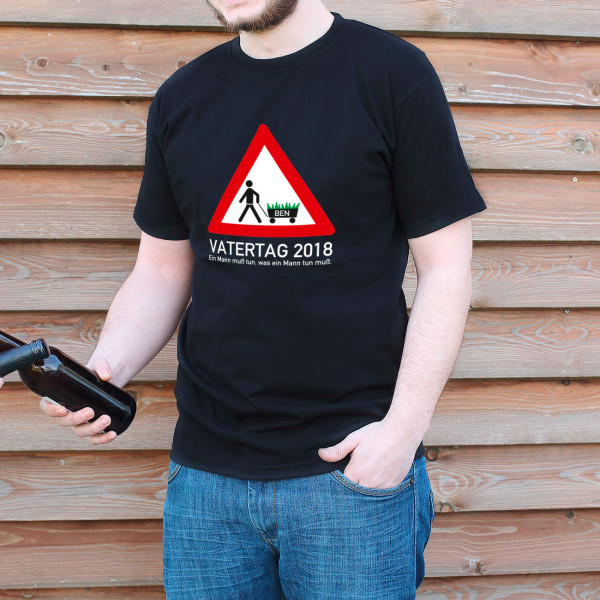 T Shirt zum Vatertag Bollerwagen mit Namensaufdruck
