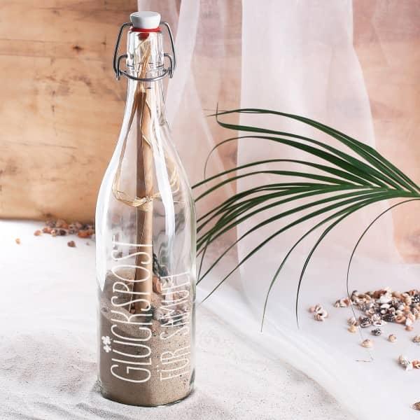 Ausgefallenkleineaufmerksamkeiten - Flaschenpost mit Glückspost Motiv und Personalisierung - Onlineshop Geschenke online.de