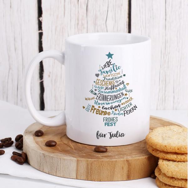 Weihnachtstasse mit Wunschtext