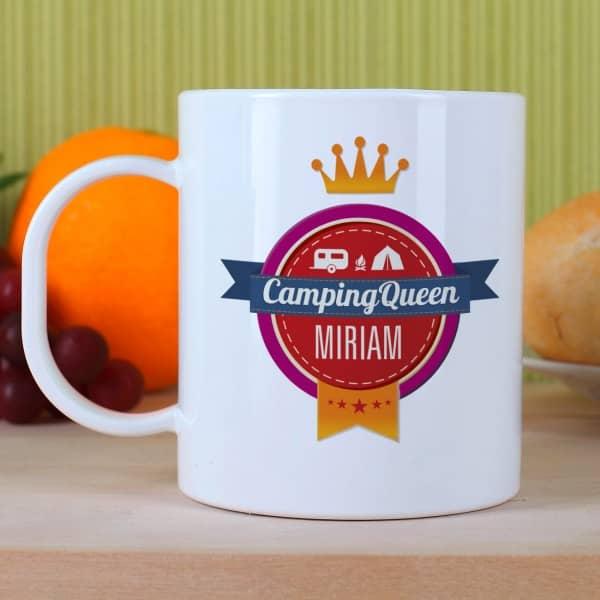 Camping Queen - Tasse aus Kunststoff mit Namens...