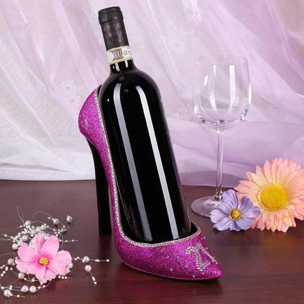 HigheHeel in pink und glitzer als Flaschenhalter