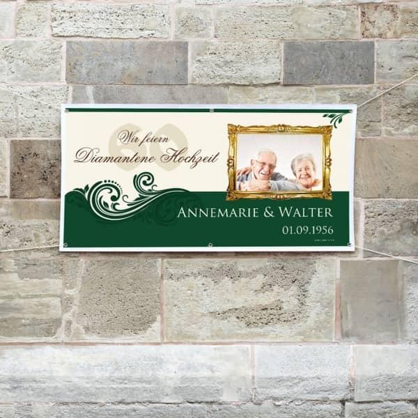 Individuellfotogeschenke - XXL Banner zur Diamantenen Hochzeit mit Foto - Onlineshop Geschenke online.de