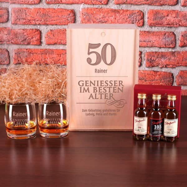 Whisky Set zum Geburtstag für Geniesser in gravierter Holzbox