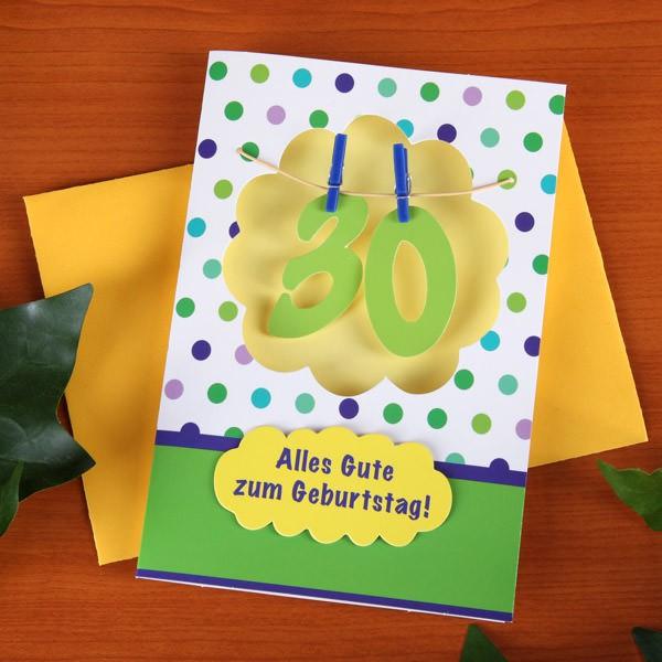 Grußkarte mit Wäscheleine zum 30.Geburtstag