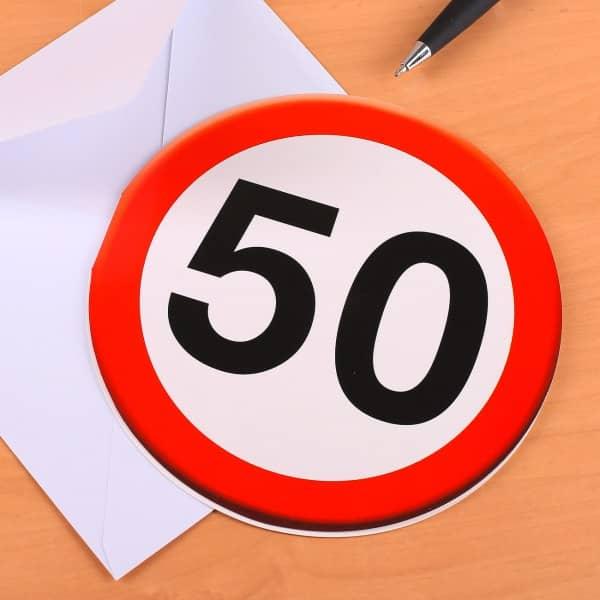 Grußkarte zum 50. Geburtstag mit Verkehrszeichen Motiv