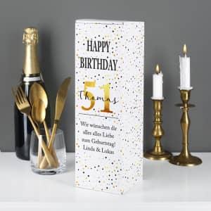 Flaschenverpackung zum Geburtstag personalisiert