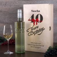 Happy Birthday - Weingeschenkset zum 40. Geburtstag mit graviertem Weinglas und Flasche