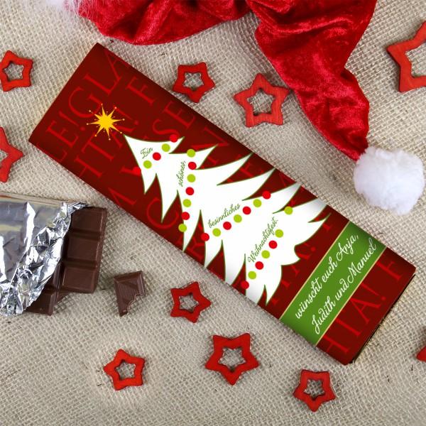 300g Weihnachtsschokolade mit Wunschtext