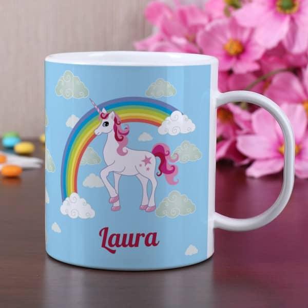 Einhorn Tasse aus bruchfestem Kunststoff mit Ihrem Namen personalisiert