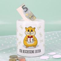 Hamster - Spardose bedruckt mit Klopapier, Nudeln und Wunschtext
