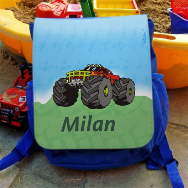 Kinderrucksack mit Namen und Monstertruck