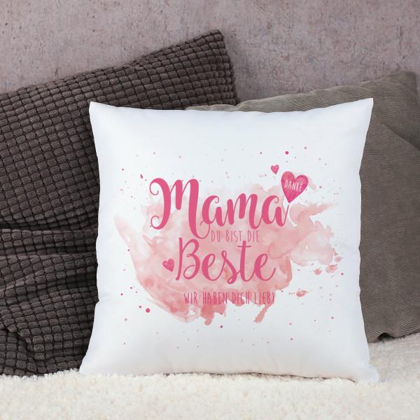 """Kissen """"Mama Du bist die Beste"""" mit Wunschtext"""