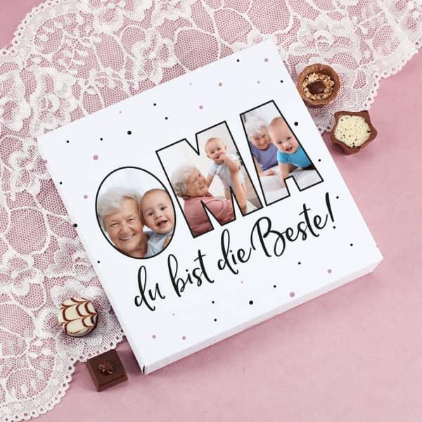 Oma du bist die Beste Pralinenbox mit Fotos