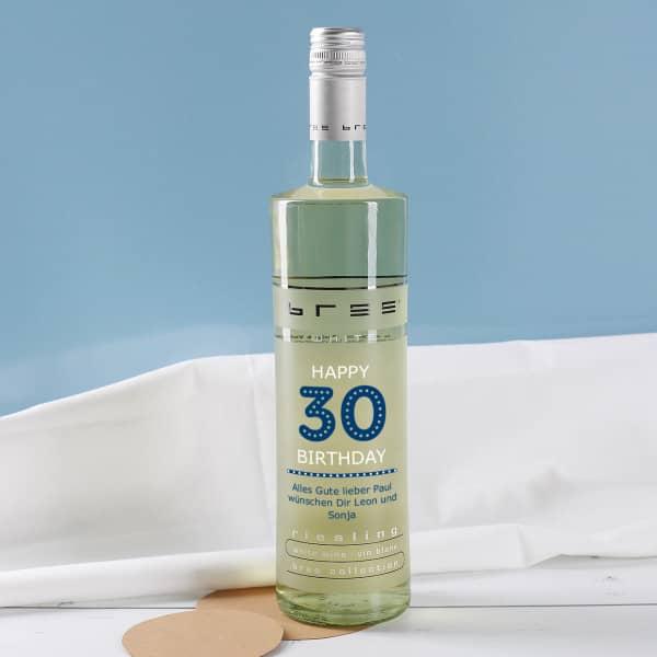 Weinflasche Happy Birthday 30 - mit persönlichen Glückwünschen