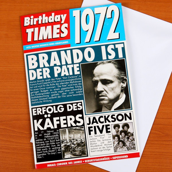 Birthday Times Karte mit Sound 1972