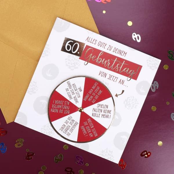 Glückwunschkarte mit Drehkarte zum 60. Geburtstag