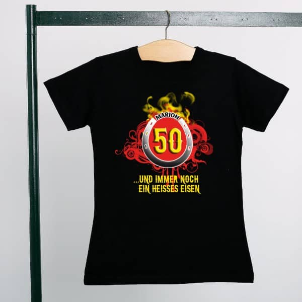 T Shirt Heißes Eisen mit Namen und Alter