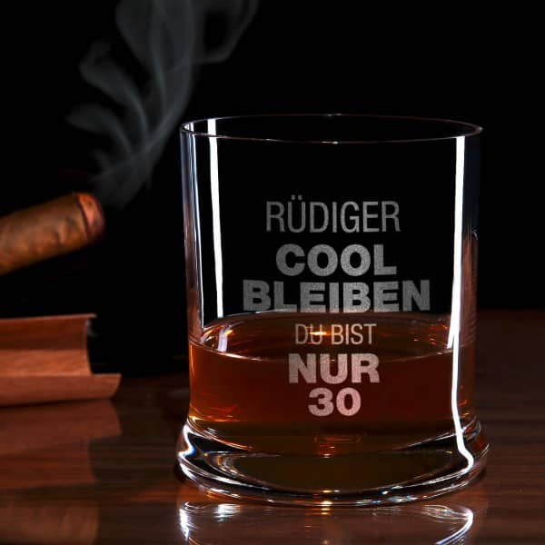 Cool Bleibe Whiskyglas mit Gravur