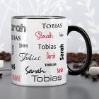Tasse mit zwei Namen in verschiedenen Schriftarten - schwarz