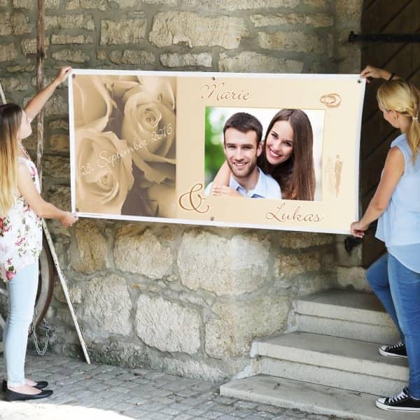 Personalisierter XXL Hochzeitsbanner mit Foto - Motiv