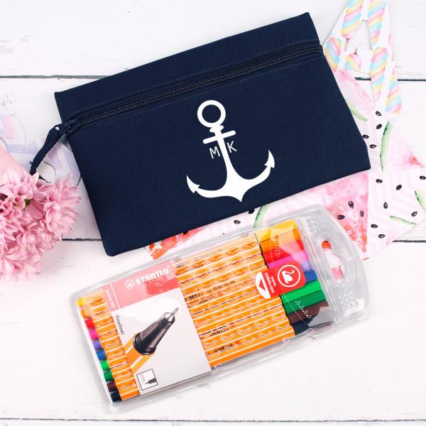 Stiftemappe im maritimen Design mit Stabilo® Finelinern im Set