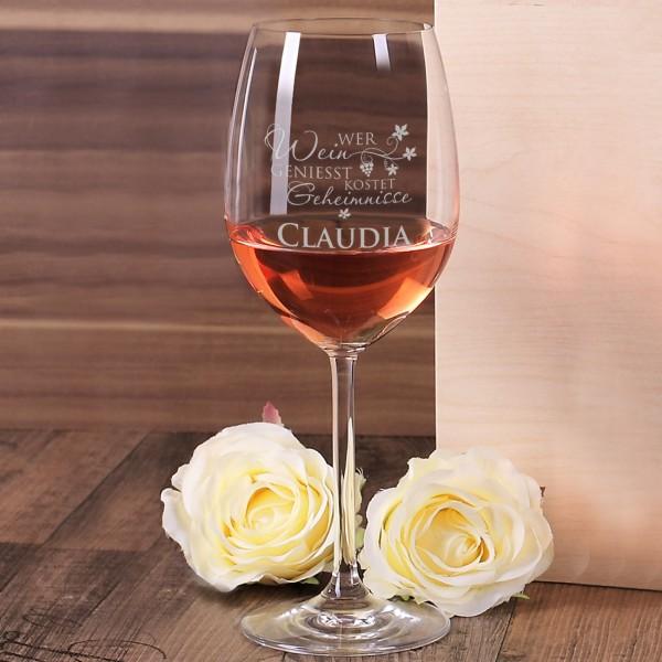 elegantes Weinglas mit Namensgravur