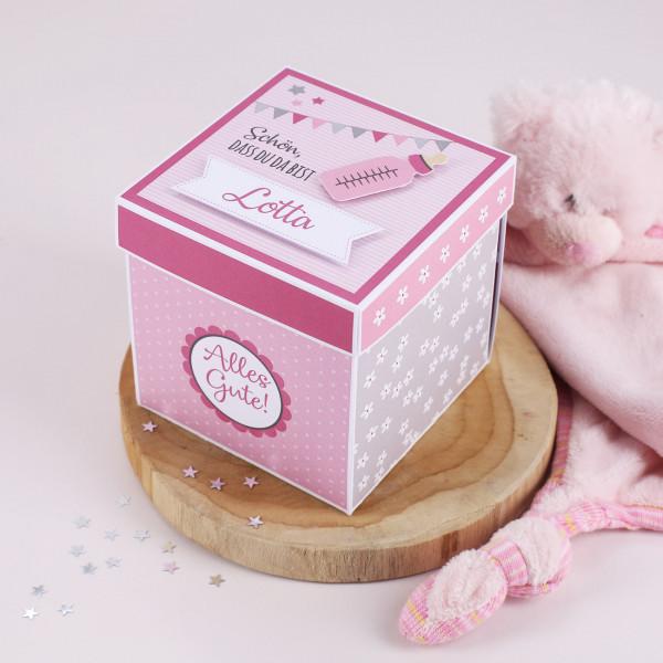 Überraschungsbox zur Geburt, Babygeschenk für Mädchen