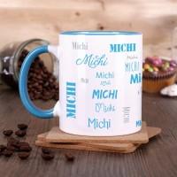 Tasse mit Ihrem Namen in verschiedenen Schriftarten - hellblau
