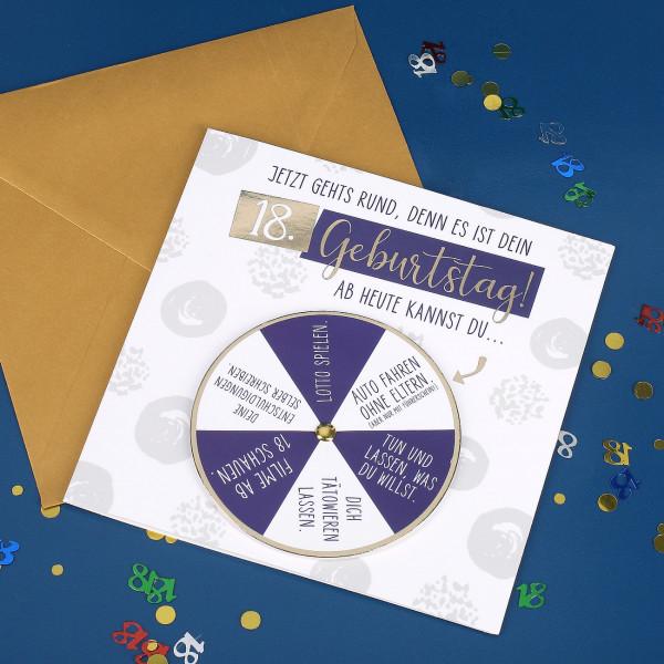 Glückwunschkarte mit Drehkarte zum 18. Geburtstag